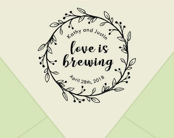 Love is brewing  Stamp, Custom Wedding Rubber Stamp - Custom Rubber Stamp for DIY Wedding Favor Tags - Personalized Coffee favor