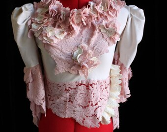 Victorian Blouse with Shipwreck Lace Ruffles & Floral Buds Custom Size