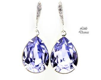 Lavender Earrings Lilac Earrings Light Purple Earrings Bridal Earrings Swarovski Crystal Bridesmaid Earrings Pastel Purple Earrings PL31H