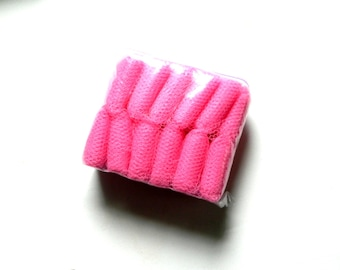 Make your own pot scrubber, nylon net strips, 12 balls 8 yards each in bright Taffy Pink / Sachet Pink supply item