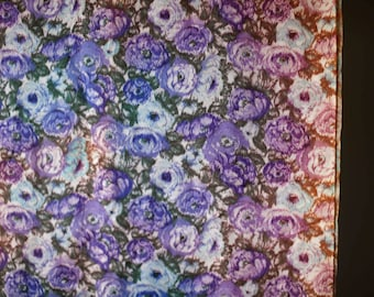 Psychadelic purple blue pink fabulous floral synthetic lining fabric
