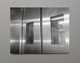 Abstract Lift Doors Minimalist Wall Art Minimal Digital Fine Art Photography Silver Wall Decor Monochrome Print Grey Photography Gray Art