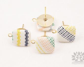 E329-YE// Square Yellow & Green Random Pattern Fabric Gold Plated Post Earring Finding, 4pcs