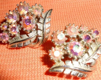 CORO (by Vendome) Baby Pink Rose Aurora Borealis Rhinestone on Leaf Design Clip-On Earrings - Signed
