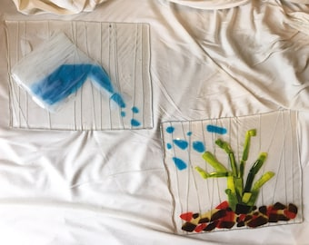 Two Piece Glass Painting - Watering Plants