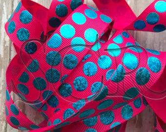 Pink Blue Foil Silly Dot USDR Grosgrain Ribbon by the Yard 7/8 inch Filler Ribbon Trim US Designed Polka Dot Ribbon Supply