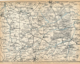 1910 Sherwood Forest Area United Kingdom (Great Britain) Antique map