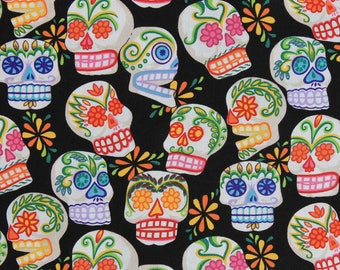 "Sugar skull fabric. Alexander Henry ""Mini Calaveras"" fabric. Day of the Dead fabric. Sugar skulls. Alexander Henry fabric."