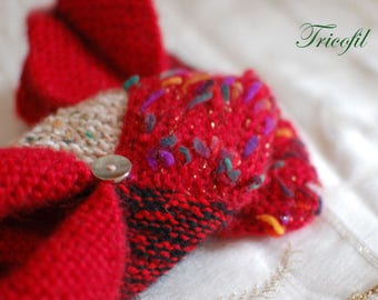 Adult hand knitted red multicolored slippers