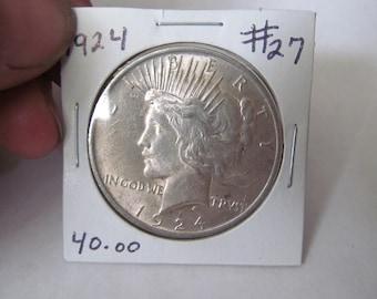 1924 Liberty Peace Dollar 1924 Silver Dollar Antique Coins USA Silver Coins Antique Us Coins Us Currency Rare Coin Collection Coin Collector