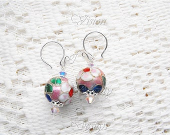 Cloisonne Sterling Silver Earrings, Simply Sweet