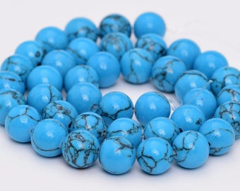 "10MM Queen Turquoise Natural Gemstone Full Strand Round Loose Beads 15.5"" (101117-321)"