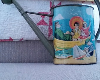 Tin litho toy water pail, embossed, 1930s