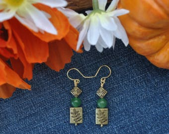 Green and gold earrings; leaf earrings; metal and stone earrings; aventurine earrings; green bead earrings; nature earrings; forest theme