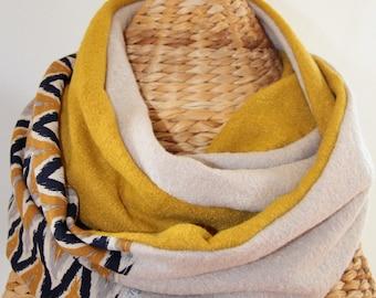 snood/scarf, mustard, cream