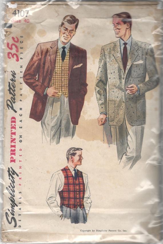 Einfachheit 4107 1950s Mens Sport Mantel und Weste Muster