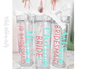 Custom skinny tumblers, bridal set, personalized cups, bridal shower gift, wedding gift, wedding favors, bridesmaids gift, wedding gift