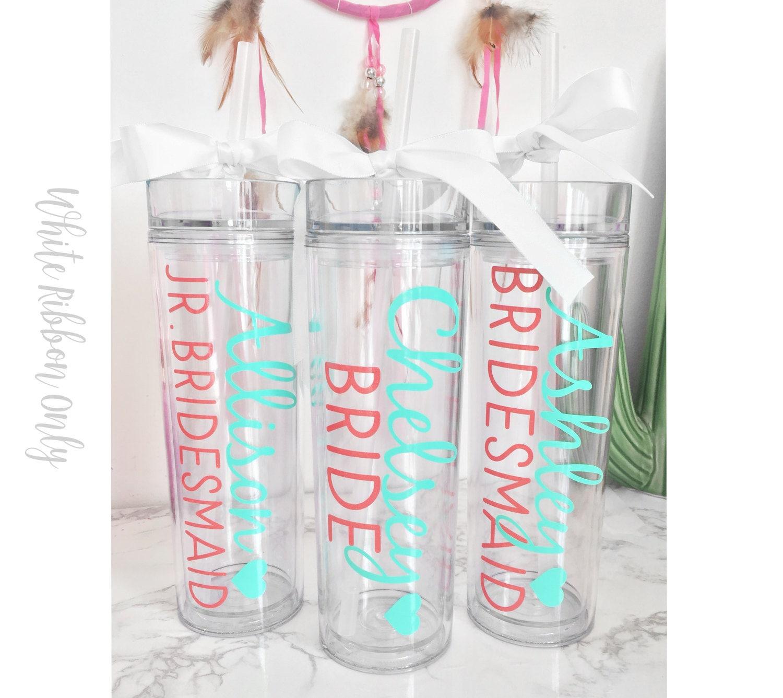 Custom skinny tumblers bridal set personalized cups bridal