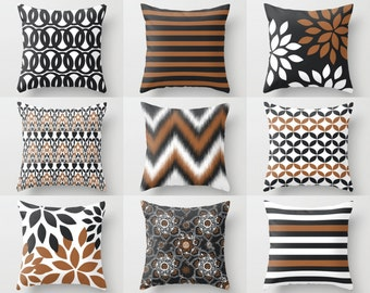 """Throw Pillow Covers, Accent Pillow Covers,Toss  Pillow Covers,  Home Decor, 16""""x16"""" 18""""x18"""" 20""""x20"""" Russet White Charcoal Decorative Pillows"""