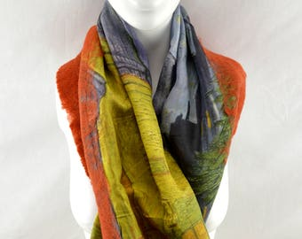 Nuno Felted Silk Scarf from Bursa, Turkey: Painting Pattern