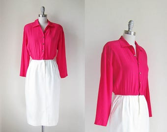 1980s vintage magenta pink white skirt long sleeve dress gold shell button down s m