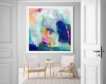 Abstract print large modern wall art abstract painting print blue wall decor living room wall art VictoriAtelier : large modern wall art - www.pureclipart.com