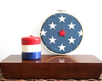 Patriotic Stars Wall Hoop Art Red White Blue Americana Rustic Wall Decor Fourth of July