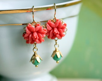 Coral Turquoise Earrings, Coral flower Earrings, Wedding Jewelry, Bridesmaid's Gift