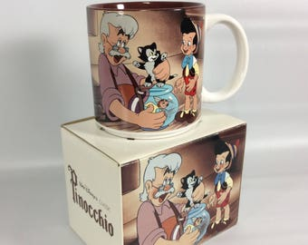Walt Disney Classic Pinocchio Vintage Coffee Mug Tea Cup Boxed Made in Japan Cup Movie Disney Store Old Stock Gift