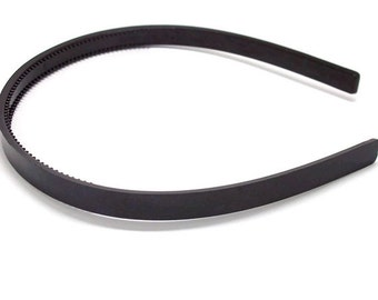 24 Black Plastic Headband Blanks - with Teeth - 10mm (3/8 inch)