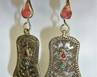 Tribal Earrings with Red Jewels, Vintage Hippie Dangling Earrings