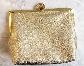 Faux Leather Bag Glittery Gold