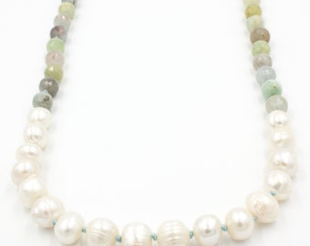 Kaia Hand Knotted Pearl Necklace in Aquamarine | Gemstone Pearl Necklace | Coastal Pearl Necklace