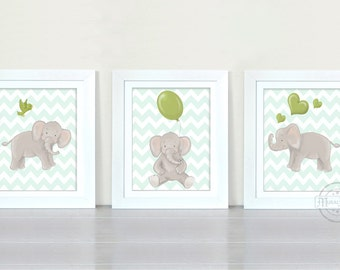 Elephant Nursery Decor, Baby Boy Nursery Art, Set Of Three Elephant Prints, Green and Gray Nursery,New Baby Boy Gift