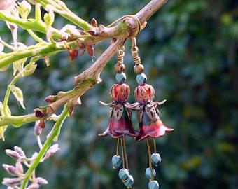 Lucite Earrings, Flower Earrings, Copper Laurel, Victorian Earrings, Boho Earrings, Drop Earrings, Red Flower Earrings, Mother's Day Gift