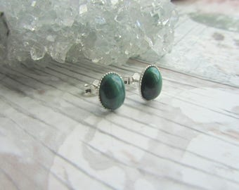 Natural Malachite Stud Earrings - 925 Sterling Silver Gemstone Jewellery - Green Earstuds