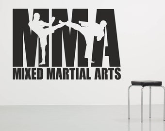 Mixed Martial Arts Wall Sticker Decal Art. Any colour and a choice of sizes.(#203)