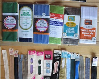 Sewing Supplies - 11 Various Makes of Bias Tape, Twill Tape and Bindings, 16 Various Makes of Zippers, Different Lengths and Colors