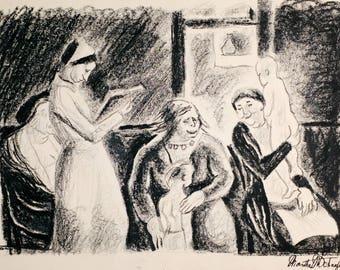 Original WPA Style Drawing by Cincinnati Ohio Artist Martha Schaeffer