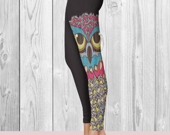 Designer Printed Leggings - Owl - WorkoutPants - Black