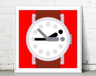 Time For Bed - Giclee fine art print - Wall decor - Home decor - Bedroom Wall - Gift - Wall Clock - Watch