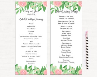Floral wedding program templates Romantic ceremony card Spring wedding ceremony program Digital download Garden wedding program diy 1W101