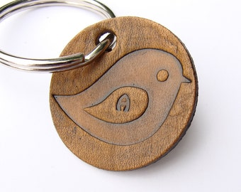 Personalized Keychain A Sweet Little Bird on a Small Leather Tag