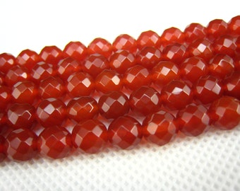 stone bead,carnelian faceted round bead 8mm,15 inch