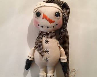 Farmhouse Primitive Snowman Folk Art Shelf Sitter Ornament Christmas Decor Black Homespun