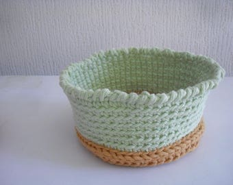 basket or bowl made crochet, caramel, pistachio green color