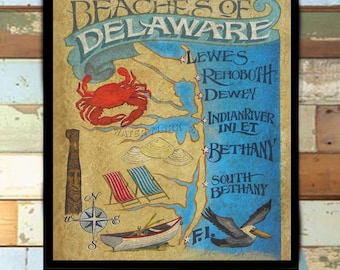 Delaware Beaches Map style Print from an original hand painted and lettered sign. Beach House Decor, Travel Map, Beach, Delaware, Bethany
