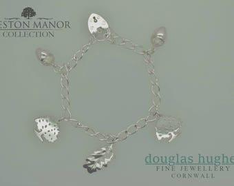 Beeston Charm Bracelet - Silver Acorn, Oak Tree & Oak Leaf Charms - Douglas Hughes