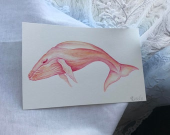 Watercolor Sunset Whale