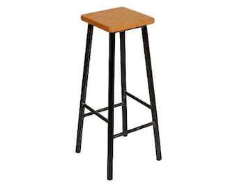 Bertie Fouroaks - Steel Frame Industrial Bar Stool with Square Oak Seat